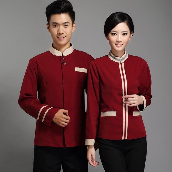 đồng phục nhà hàng khách sạn màu đỏ