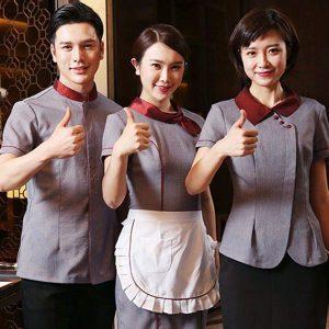 đồng phục nhà hàng khách sạn màu xám