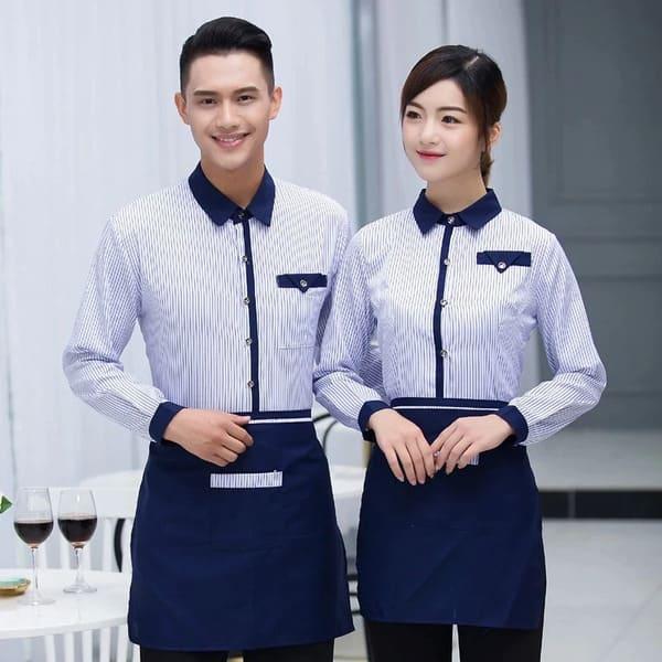 đồng phục nhà hàng màu trắng xanh