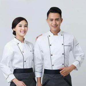 đồng phục nhân viên nhà hàng màu trắng