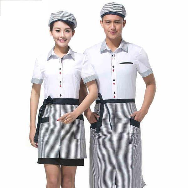 đồng phục nhân viên phục vụ nhà hàng màu trắng