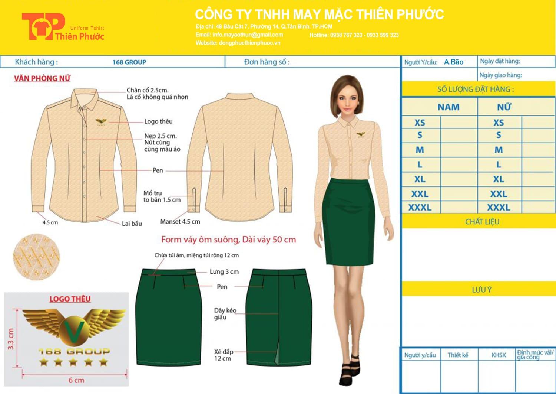 mẫu thiết kế đồng phục nữ công ty 168 group