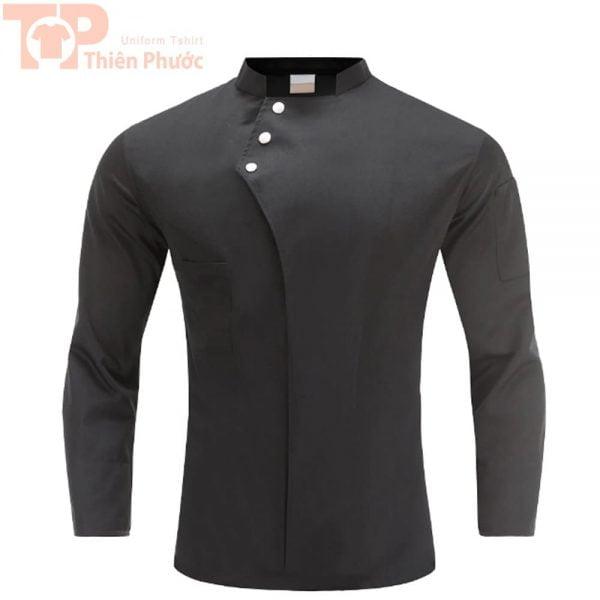 đồng phục phụ bếp tay dài màu đen