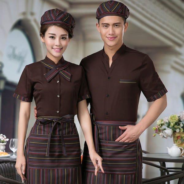 đồng phục phục vụ nhà hàng màu nâu