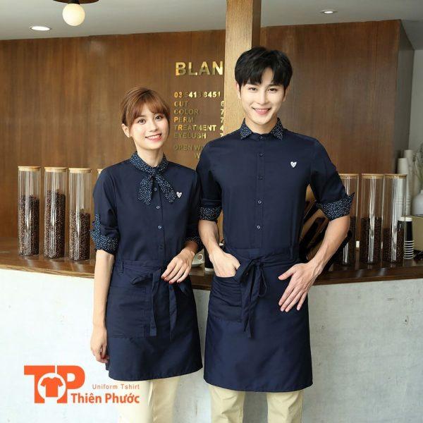 đồng phục quán cafe phối tạp dề hiện đại