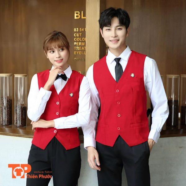 đồng phục quán cafe phối vest