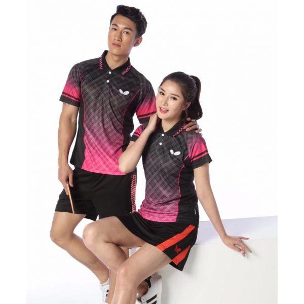 đồng phục thể thao bóng bàn phối đen hồng