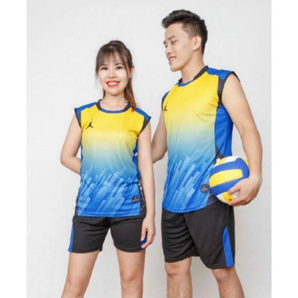 đồng phục thể thao bóng chuyền nam nữ màu xanh