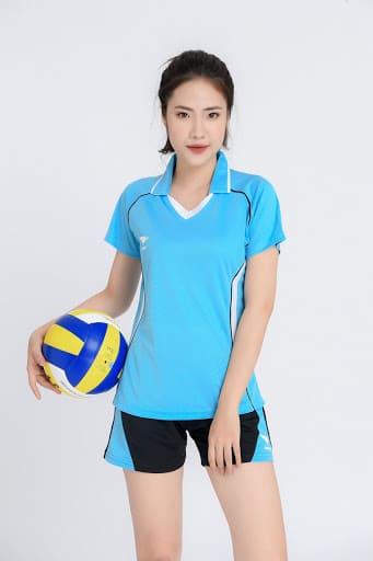 đồng phục thể thao bóng chuyền nữ màu xanh