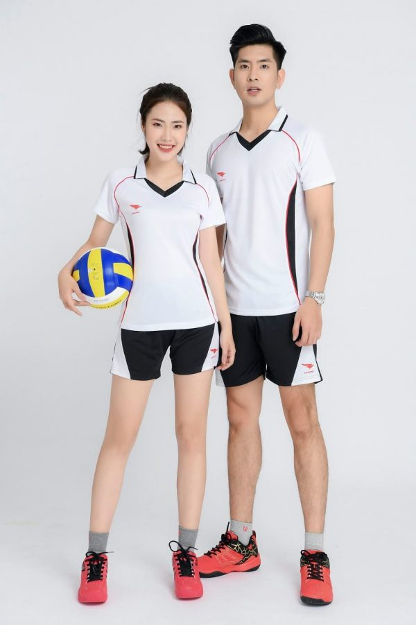 đồng phục thể thao bóng chuyền nữ nam màu trắng