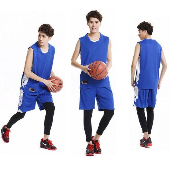 đồng phục thể thao bóng rổ nam màu xanh dương