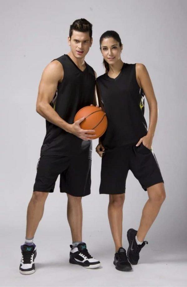 đồng phục thể thao bóng rổ nam nữ màu đen