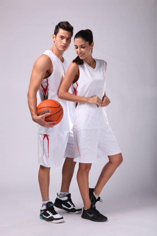 đồng phục thể thao bóng rổ nam nữ màu trắng
