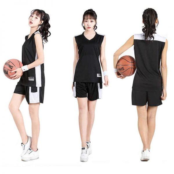 đồng phục thể thao bóng rổ nữ màu đen