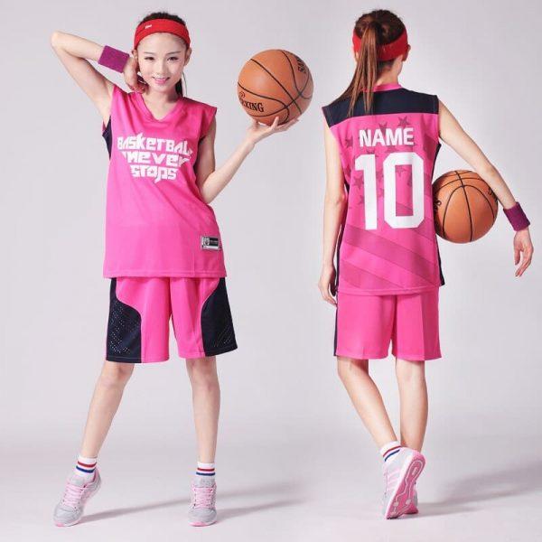 đồng phục thể thao bóng rổ nữ màu hồng