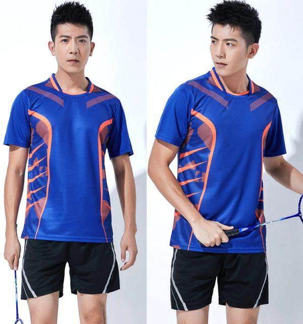 đồng phục thể thao cầu lông nam màu xanh dương