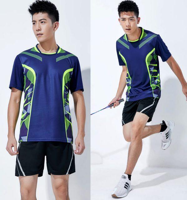 đồng phục thể thao cầu lông nam xanh đậm