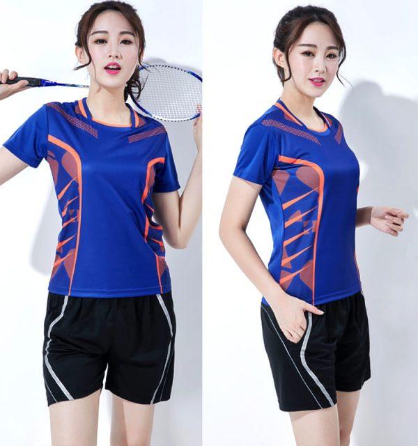 đồng phục thể thao cầu lông nữ màu xanh dương