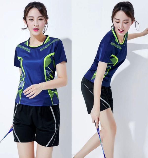 đồng phục thể thao cầu lông nữ xanh đậm