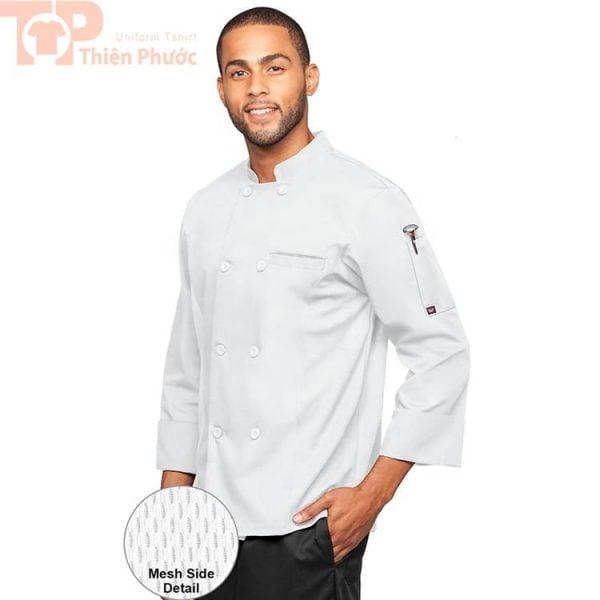 Mẫu áo bếp màu trắng