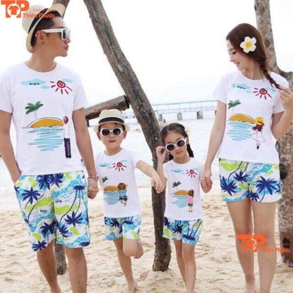 mẫu áo cặp gia đình đi biển