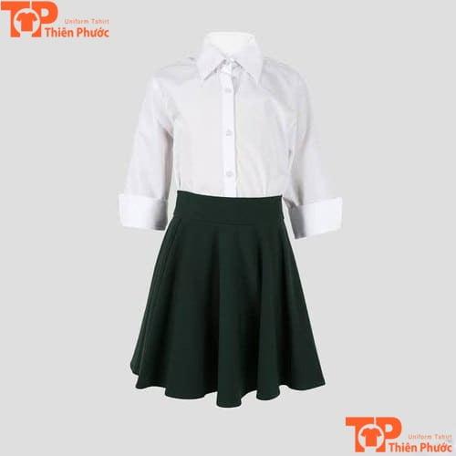 mẫu áo đồng phục mầm non bé gái sơ mi tay dài