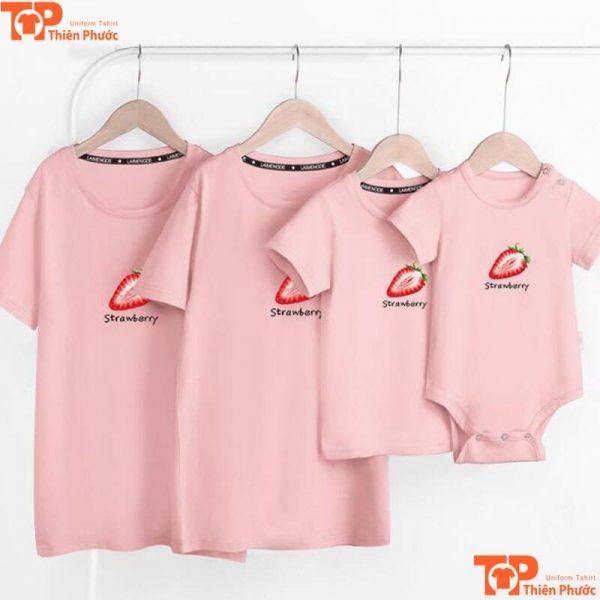 mẫu áo gia đình đi chơi hồng pastel