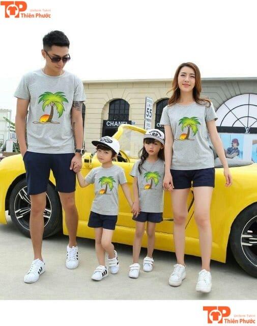 mẫu áo phông gia đình 4 người