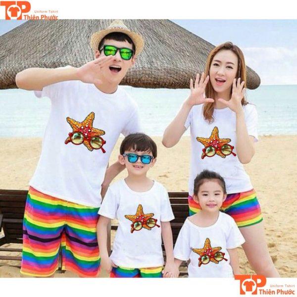 mẫu áo thun gia đình đi biển mùa hè