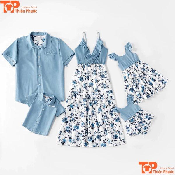 mẫu áo váy gia đình trẻ trung năng động