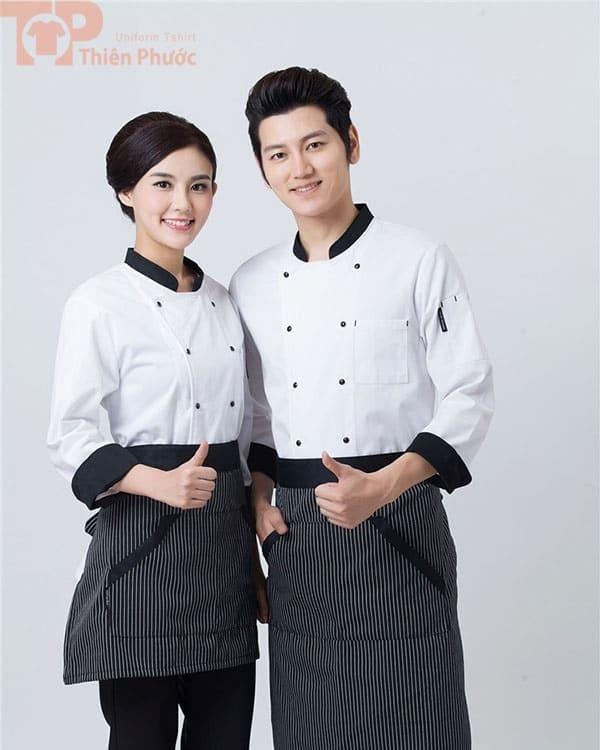 mẫu đồng phục đầu bếp cho nam nữ