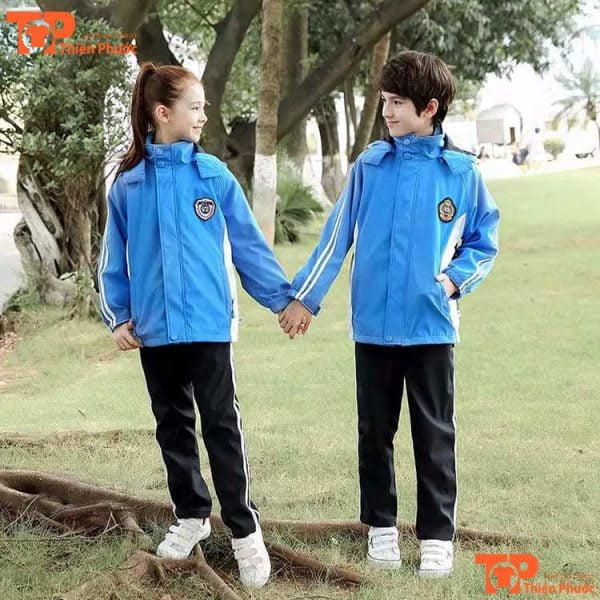 mẫu đồng phục học sinh mầm non áo khoác màu xanh da trời