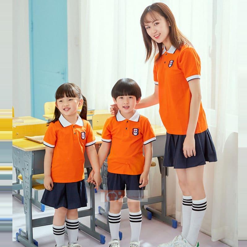 mẫu đồng phục mầm non cam