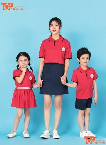 mẫu đồng phục mầm non cho cô và bé