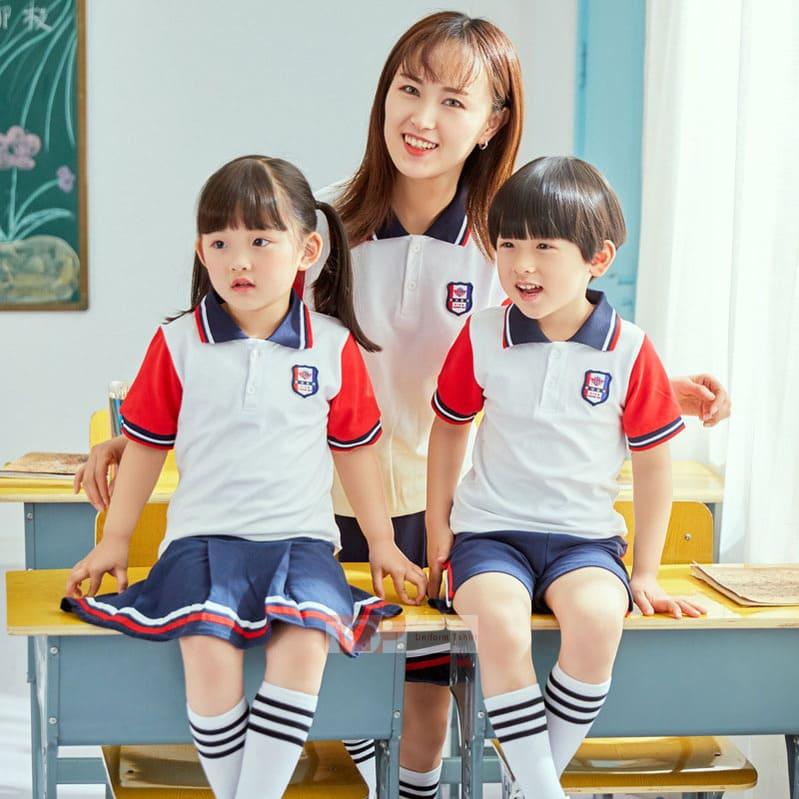 mẫu đồng phục mầm non đỏ trắng