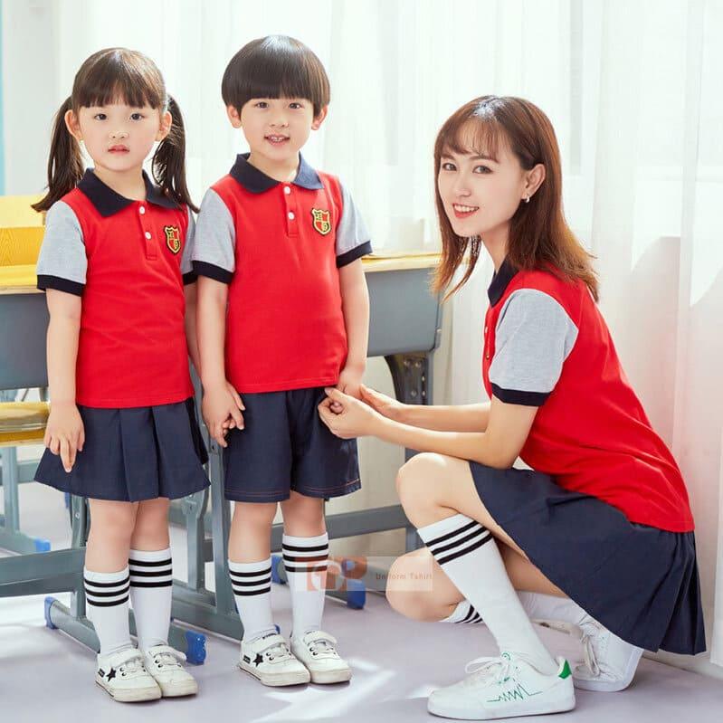 mẫu đồng phục mầm non màu đỏ