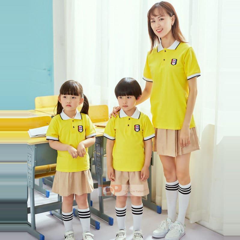 mẫu đồng phục mầm non màu vàng