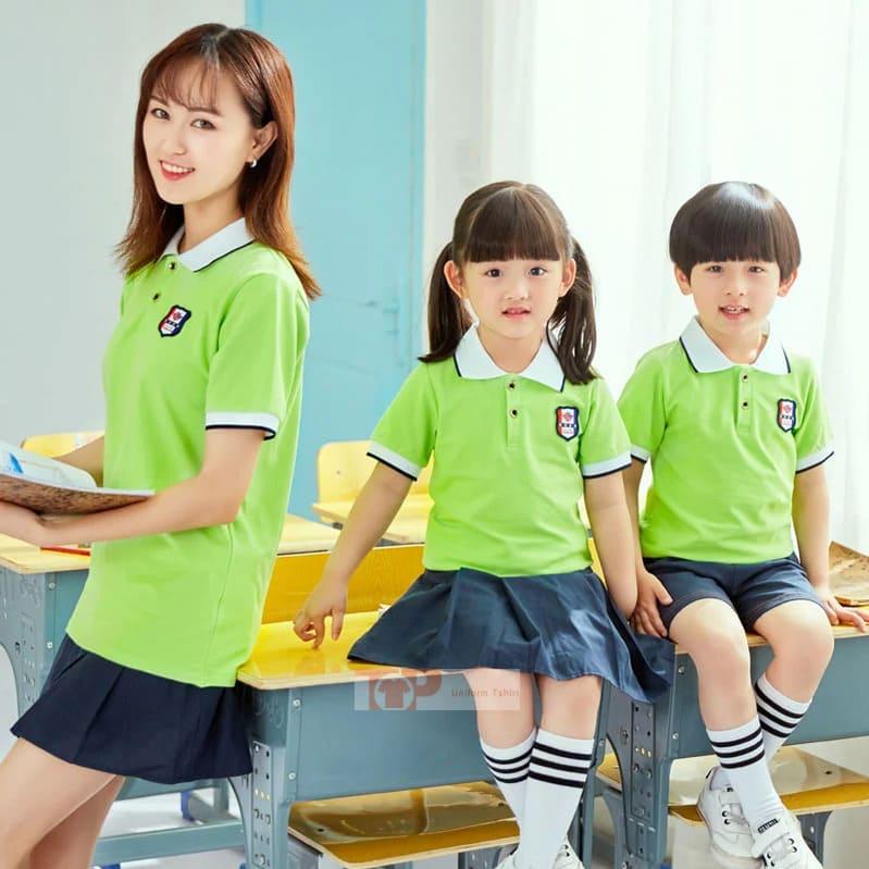 mẫu đồng phục mầm non xanh cốm