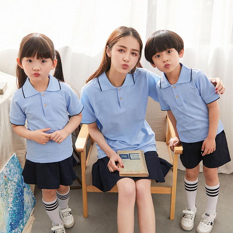 mẫu đồng phục mầm non xanh da trời