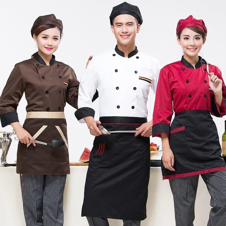 mẫu quần bếp phối với áo bếp