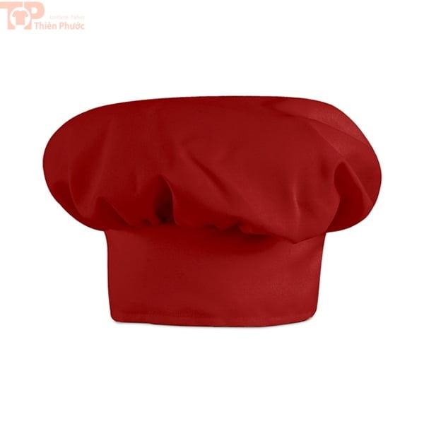 Nón bếp màu đỏ phối với đồng phục bếp