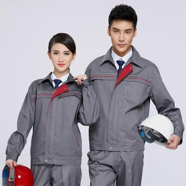 quần áo đồng phục công nhân cơ khí màu xám có mũ