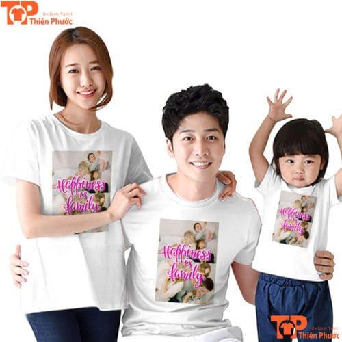 quần áo gia đình 3 người cổ tròn