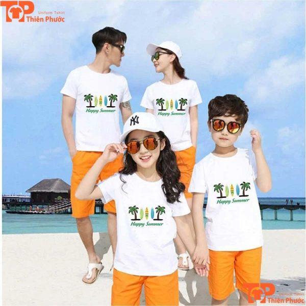 quần áo gia đình 4 người đi biển cổ tròn