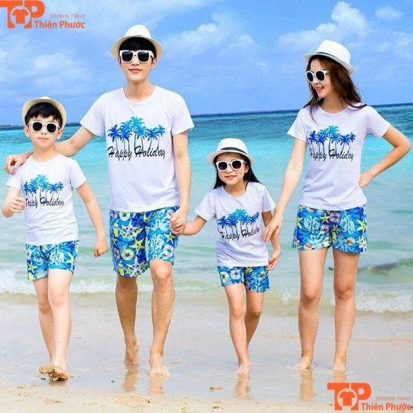 set áo đồng phục gia đình đi biển