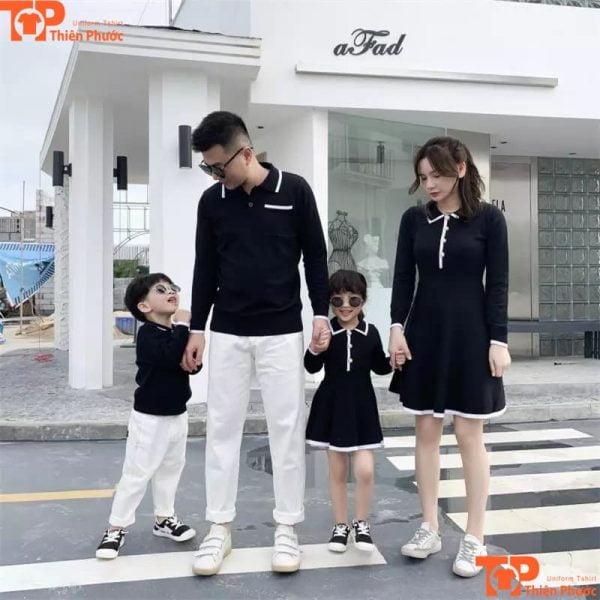 set áo gia đình tay dài màu đen