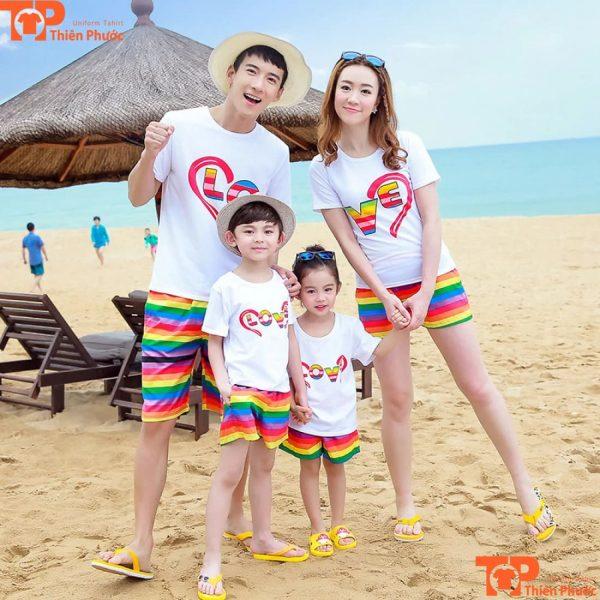 set áo thun gia đình đi biển