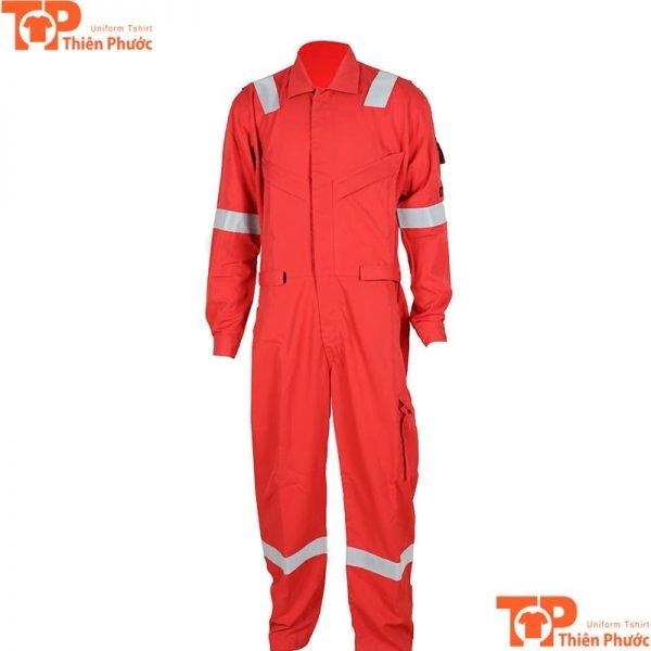 áo đồng phục bảo hộ lao động liền quần màu đỏ