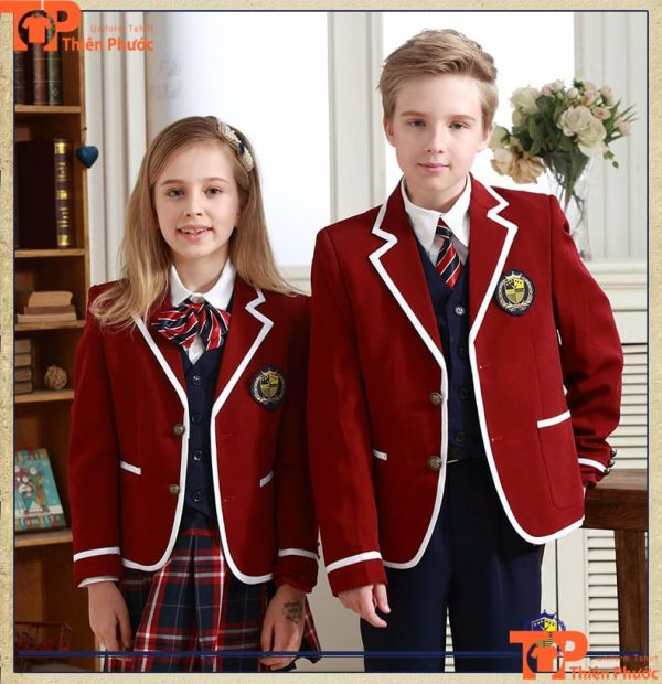 Áo đồng phục học sinh cấp 2 nam nữ màu đỏ