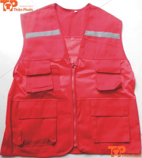áo gile bảo hộ lao động màu đỏ